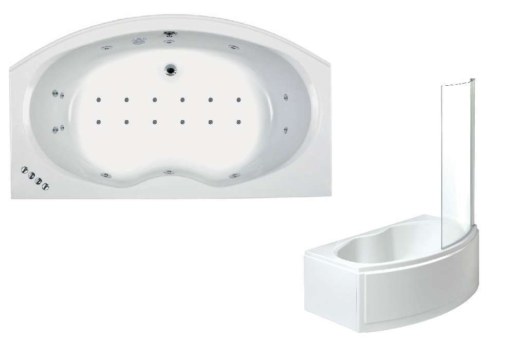 Napoli 1700mm X 970mm Whirlpool Shower Bath Inc. Panels & Screen ...